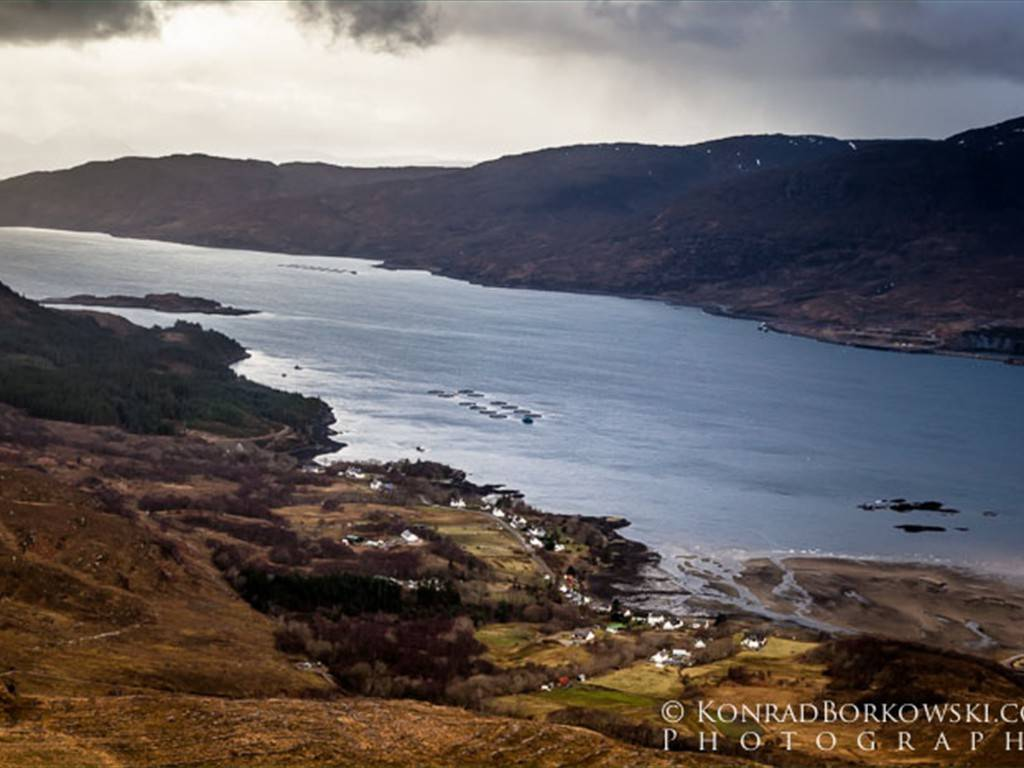 Loch Kishorn with Achintraid below.